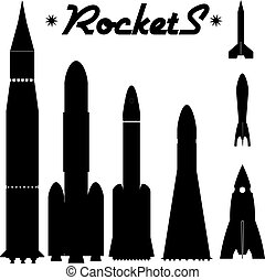 Ein Set Silhouette von Raketen