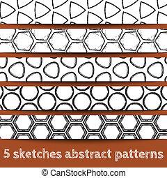 Ein Set von geometrischen, nahtlosen Mustern