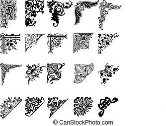 Ein Set von zwanzig einsfarbenen Ecken. Muster.