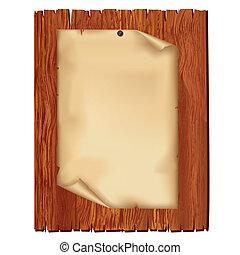 Ein Stück Papier auf Holzbrett