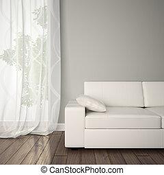 Ein Teil des Interieurs mit Sofa.