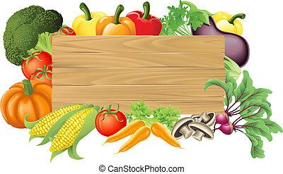 Ein vegetables Holzzeichen