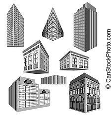 Ein Vektor-Set von Gebäuden