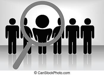 Ein Vergrößerungsglas findet, wählt oder inspiziert eine Person in einer Reihe von Menschen: Suche & wähle für Beschäftigung, Anerkennung, Beförderung, Einstellung usw