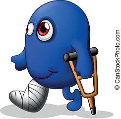 Ein verletztes blaues Monster