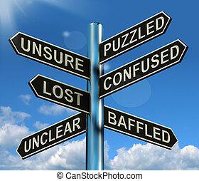 Ein verwirrtes, verlorenes Schild mit rätselhaftem Problem