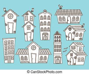 Ein Zeichentrickhaus und ein Gebäude