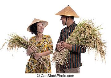 einander, landwirt, paar, junger, lächeln glücklich