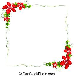 Eine Blumengrenze mit roten Blumen.