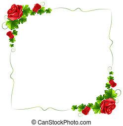 Eine Blumengrenze mit roten Rosen.