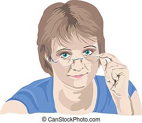 Eine erwachsene Frau, die über ihre Brille schaut, mit Fingern auf der Brille