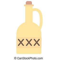 Eine Flasche Gift, flache Illustration auf weiß