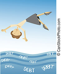 Eine Frau, die in ein Meer der Schulden fällt