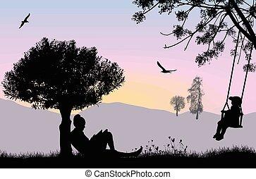 Eine Frau liest ein Buch unter dem Baum auf einer schönen Landschaft.