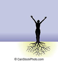 Eine Frau mit Baumwurzeln