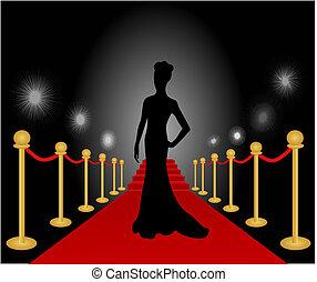 Eine Frau mit rotem Teppichvektor