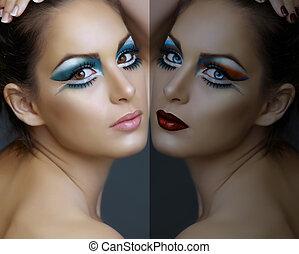 Eine Frau mit türkisfarbenem Make-up.