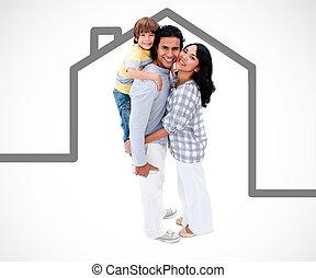 Eine glückliche Familie mit einer grauen Haus-Illustration