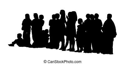 Eine große Gruppe von Menschen, die Silhouettes legten drei