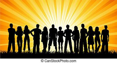 Eine große Gruppe von Menschen