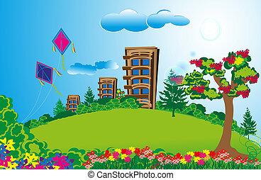 Eine große Wohnung auf langen grünen Feldern