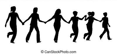 Eine Gruppe Frauen hält Händchen und läuft zusammen