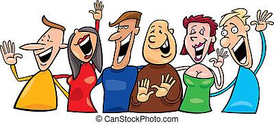 Eine Gruppe glücklicher Menschen