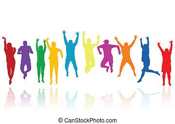 Eine Gruppe junger Leute springt