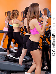 Eine Gruppe von Frauen, die auf Tretmill laufen