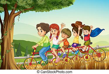 Eine Gruppe von Leuten, die Fahrrad fahren.