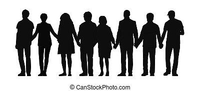 Eine Gruppe von Leuten, die Hände Silhouette 3 halten.