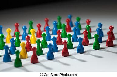Eine Gruppe von mehrfarbigen Menschen, die soziales Netzwerk, Vielfalt, multikulturelle Gesellschaft, Teamarbeit repräsentieren