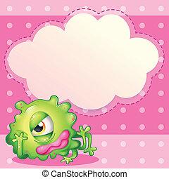 Eine leere Wolkenvorlage auf der Rückseite eines grünen Monsters.