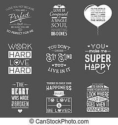 Eine Menge alter Liebe typographische Zitate