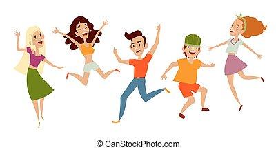Eine Menge junger Leute, Teenager tanzen, Spaß haben