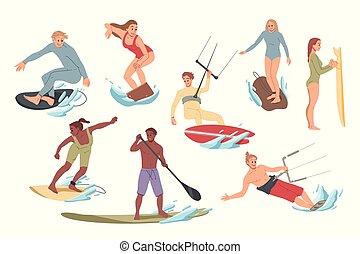 Eine Menge Leute, die Aktivitäten auf dem Wasser surfen, reiten. Sommerurlaub.