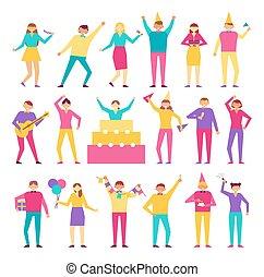 Eine Menge Leute haben Spaß am Geburtstagsfeier Vektor