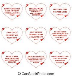 Eine Menge lustiger Liebeswünsche Zitate über weißem Hintergrund. Einfache Herzform.