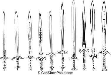 Eine Menge Silhouetten von Schwertern Tattoo.