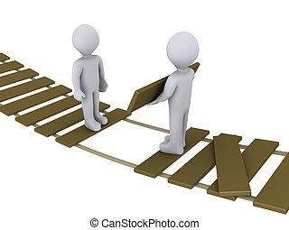 Eine Person auf der Brücke hilft einer anderen