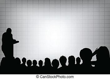 Eine Person, die eine Präsentation auf einer Geschäftskonferenz oder Marketing vor Publikum macht. Fügen Sie Ihren Text auf den Leinwandbildschirm.