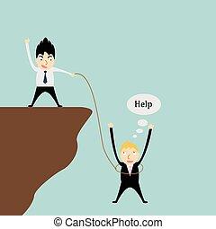 Eine Person hilft einem anderen.