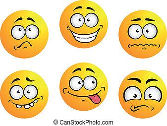 Eine Reihe gelber Emoticons.