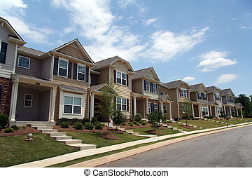 Eine Reihe neuer Stadthomen oder Eigentumswohnungen