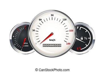Eine Reihe von Auto-Dashboard-Elementen. Geschwindigkeitsmesser, Tachometer, Treibstofflevel, Indikatoren auf weiß