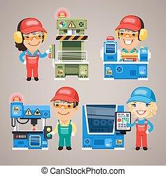 Eine Reihe von Comic-Arbeitern, die an den Fabrikmaschinen arbeiten