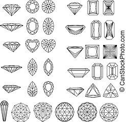 Eine Reihe von Diamantenformen in Drahtrahmen.