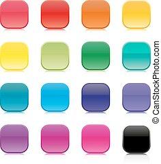 Eine Reihe von mehrfarbigen Quadratknöpfen.