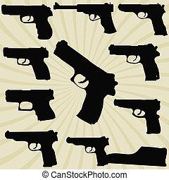Eine Reihe von Pistolen