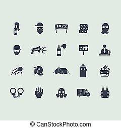 Eine Reihe von Revolutionssymbolen.
